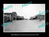 OLD LARGE HISTORIC PHOTO OF RYAN OKLAHOMA, THE MAIN STREET & STORES c1940
