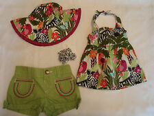 Gymboree Wild For Zebra 3-6 Month Shorts Print Shirt Hat Curly Hair Clips Outfit