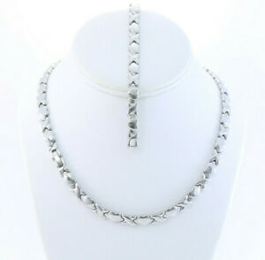 """Hugs and Kisses Necklace Bracelet Set Stampato Stainless Steel Silver Tone 18"""""""