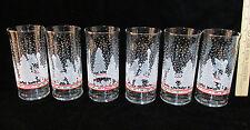 Coca Cola Coke Glass Glasses Christmas Winter Scene Towns People Libbey Set 6