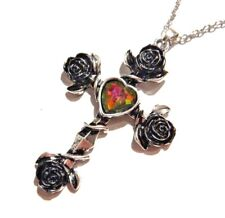 Silver Cross Black Roses Rainbow Heart Pendant chain necklace vampire crux M1