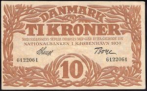 Denmark: National Bank. 10 kroner. 1930. (Pick 26a). GVF+.