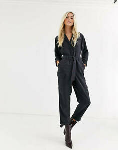 Topshop Washed Black All In One Boiler Suit Jumpsuit Cropped UK10 SOLD OUT