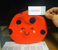 Carter's Knit Ladybug Winter Cap Red/Navy Blue Baby Size 12-24Mo NWT (MCL). OOP.
