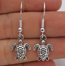 925 Silver Plated Hook - 1.4'' Vintage Sea Turtle Tortoise Party Earrings #61