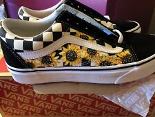 Vans Old Skool Classic Shoe (Checkered) Suede Canvas Hand Painted Sunflower NEW