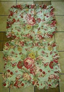 Ralph Lauren Cynthia Floral Ruffled Standard Pillow Sham ~ Set of Two! Made USA!