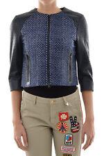 DROME New Woman Dark Blue 3/4 Sleeve Cropped Biker Jacket Leather Coat size S
