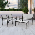 4 Piece Garden Furniture Sets Rectangular Table & 4 Seater Chairs Patio Outdoor