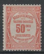 "FRANCE STAMP TIMBRE TAXE 47 "" 50c ROUGE "" NEUF xx TB , VALEUR: 1000€   N687"