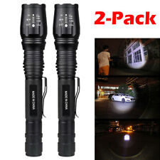 2 x Tactical Police 90000 Lumens 5Modes 18650 LED Flashlight Aluminum Zoom Torch