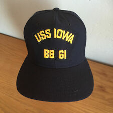e838163075e2c USS IOWA BB 61 Baseball Cap Hat Navy   Gold Dupont Visor USA New