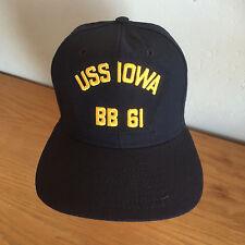 USS IOWA  BB 61   Baseball Cap Hat  Navy & Gold  Dupont Visor   USA   New