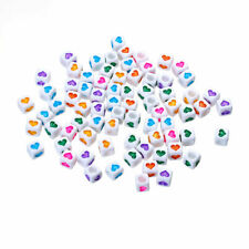 100 Acrylic Beads Square Random Heart 6mm hole approx 3mm