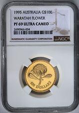 1995 $100 Gold  Proof Floral Emblems of Australia Waratah Flower NGC PF69 UCAM