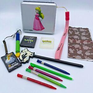 Nintendo DS accessories: Peach game case stylus lot Pokemon Super Mario cloth