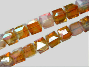 25pcs 8mm Cube Glass Crystal Spacer Beads Necklace Bracelet Jewelry Bead Finding