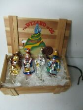 New ListingPolonaise Set of 4 Glass Christmas Ornaments in Orig Wood Box - Wizard of Oz