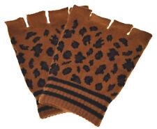 New Fingerless Leopard Dark Brown Gloves GOTH WARMER