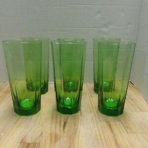 "6 Seneca Images Lime Green Coolers Tumblers Glasses Paneled 20 oz 6 3/4"" Tall"