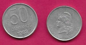 ARGENTINA 50 CENTAVOS 1983 UNC CAPPED LIBERTY HEAD LEFT,VALUE AND DATE BELOW  KM