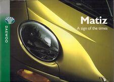 DAEWOO MATIZ 1999-2000 UK Opuscolo Vendite sul mercato 0.8 Se Se +