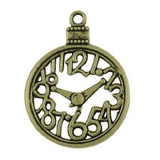 8 x antique bronze clock Charms/Alice in Wonderland homologues Steampunk 40 mm