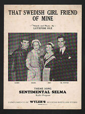 That Swedish Girl Friend of Mine 1935 Theme of Sentimental Selma Radio Program S