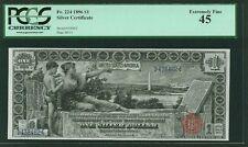 "U.S 1896 $1 ""EDUCATIONAL"" SILVER CERTIFICATE BANKNOTE FR-224 CERTIFIED PCGS XF45"