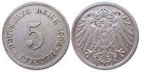 J 12   5 Pfennig KAISERREICH 1904 F in VZ-  502911