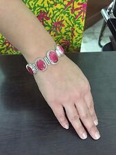 925 Sterling Silver Bracelet, Natural Corundum Ruby Handcrafted Jewelry BR33