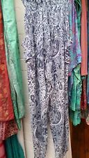 Ibu Indah Bamboo Grey Pattern Harem Pants One Size Wide Ankle Trousers Leisure