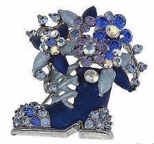 Flowers & Plants Crystal Costume Brooches & Pins