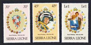 Sierra Leone Charles and Diana Royal Wedding 3v 1981 MNH SG#668-670