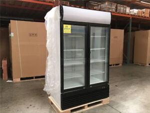Commercial Double Glass Door Merchandiser Refrigerator NSF ETL Flower Beer