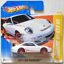 HOT WHEELS 2011 HW PREMIERE PORSCHE 911 GT3 RS #36/50 WHITE SHORT CARD W+