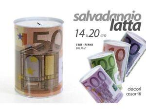 SALVADANAIO IN LATTA CON STAMPA MONETA EURO DIMENSIONE GRANDE CM 14X20 PZ.1