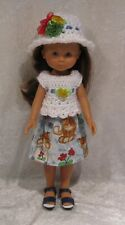 "LES CHERIES Corolle 13"" Doll Clothes #04 Top, Hat & Skirt Set, 14"" Betsy McCall"