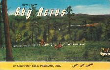 Piedmont Missouri~View from Sky Acres Cabins at Clearwater Lake 1940s Linen