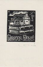 Ex-libris Milorad MATIC, bois de Karoly ANDRUSKO (1915-2008) - Yougoslavie.