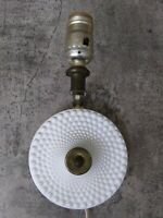 Vintage Wall Sconce White Milk Glass Hobnail w/Brass Light Cord Farmhouse WORKS