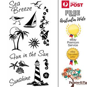 Beach Stamps - Lighthouse, Shells, Sunshine, Yacht, Sun, Seagull - Inkadinkado