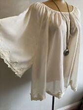 Vero Moda Bohemian Gauzy Top Kimono/angel Sleeves Cream Indian Lace Sz XL/16-18