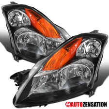 For 07-09 Nissan Altima 4DR Black Clear Crystal Headlights LH+RH w/ Amber
