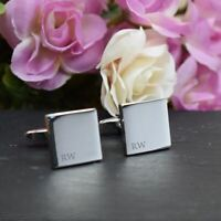 SILVER Personalised Engraved Initial SQUARE Cufflinks - Subtle Wedding Cufflinks