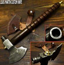 Louis Martin Custom Made Damascus Steel Walnut Wood Hunting Axe Knife with pipe