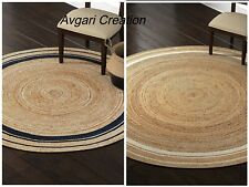 Rug Natural Jute Reversible Handmade Natural Round Style Area Carpet Modern Rug