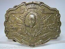 Vtg Adv Belt Buckle Viva Simon Bolivar Montauk Silver Co made in England