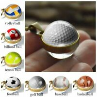 New Double Sided Glass Ball Sport Classic Pendant Necklace Chain Jewelry Gifts