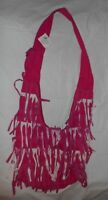Pink & White Hippie Fringed Cotton Hand Crafted Bohemian BOHO Handbag India NWT